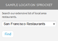 location search sprocket with sample headline